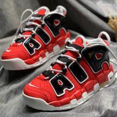 giày nike uptempo đỏ chữ đen